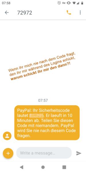 paypal sms 72972 zahlung verdächtig